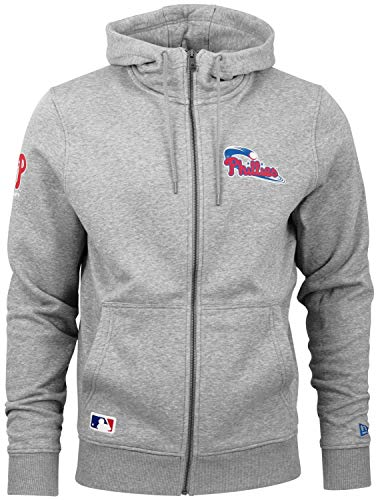 New Era Herren Sweatjacke Team Apparel Script FZ Hoody Philadelphia Phillies - Lt Grey Htr L - Htr-fan
