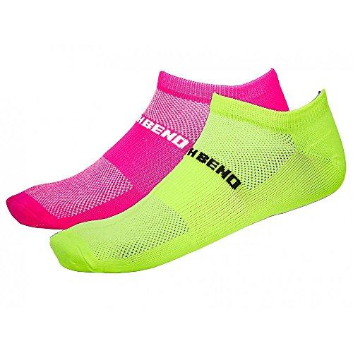 North Bend ExoCool Socks - 2er Pack Damen Socken - 135307-4003 pink/neongelb, Größe :35-38