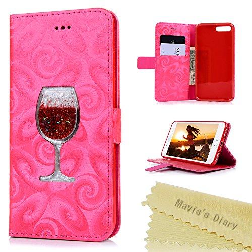 """Mavis's Diary Étui iPhone 7 Plus (5.5"""") Coque en Cuir Or Bling Verre Motif Dessin Housse Portefeuille Fente de Carte Étui à Rabat Fermeture Magnétique Flip Phone Case Cover+Chiffon rouge"""