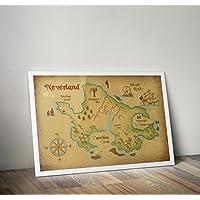 Disney inspirierte Nielandkarte, Peter pan drucken A4 8,3 x 11,7 Zoll