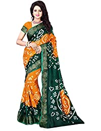 Calendar Women's Bhagalpuri Silk Orange & Green Color Saree With Unstitched Blouse Piece