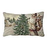 Mitlfuny Weihnachten Kissenbezug,Werfen Kissen Abdeckungen Fälle Schutz Muscheln Zum Couch Sofa Schlafzimmer Zuhause Weihnachten Dekor, 30cm x 50cm (D)
