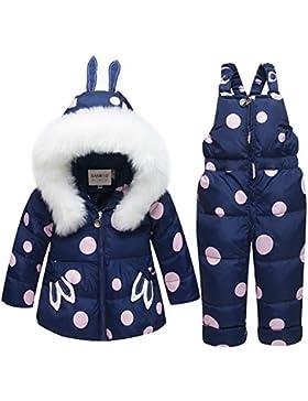 SANMIO Baby Mädchen Daunenjacke Schneeanzug mit Kaputze Bekleidungsset Verdickte Winterjacke + Winterhose Kleinkind...