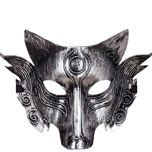 Horror Wölfe Party Maske Halloween Ghost Festival Makeup Tanz Maske,Silver-L