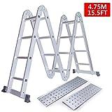 Keraiz®, scala pieghevole estensibile multi funzione 4x 4, in alluminio color argento, lunga 4,75m, con piattaforme