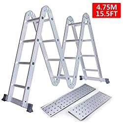 Keraiz STL-274-4.7M Multi Function Silver 4.75 m / 4x4 Aluminium Foldable Extension Ladder with Platform