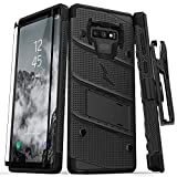 Zizo 1BOLT-SAMGN9-BKBK Hülle für Samsung Galaxy Note 9 mit Military Grade + Glasfolie, Standfuß Schwarz