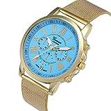 Relojes Pulsera Mujer, Xinan Moda Clásica de oro Cuarzo Ginebra Reloj de Pulsera de Acero inoxidable (Cielo Azul)