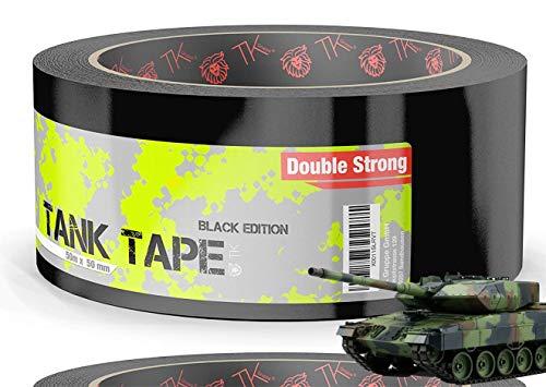 Panzertape Tank Tape schwarz Klebeband 2.0 Gewebeklebeband 50 Meter * 50 mm, ultrastark & witterungsbeständig Panzerklebeband Reperaturband Gewebeband Duct Tape (1x Stück)