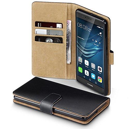 Huawei P9 Plus Case, Terrapin Handy Leder Brieftasche Case Hülle mit Kartenfächer für Huawei P9 Plus Hülle Schwarz mit Hellbraun Interior
