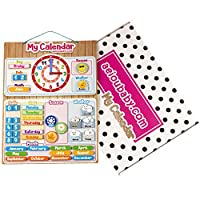 aeioubaby.com CALENDAR CLOCK Magnetic for wall or refrigerator,Date,Weather & Time 17x12.6in