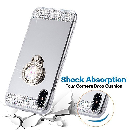 EUWLY Custodia iPhone X, EUWLY Brillante Diamante Specchio Silicone Custodia per iPhone X con Rotazione Grip Ring Kickstand Custodia Cover Shock-Absorption Morbido Gel TPU Bumper Coperture Anti-Scratc Specchio Argento