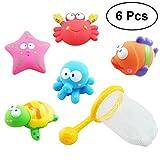 Yeahibaby 6 unids pesca flotante del bebé arroja a chorros juguetes juguetes de baño tiempo del baño juguetes conjunto juguete de pesca de arena
