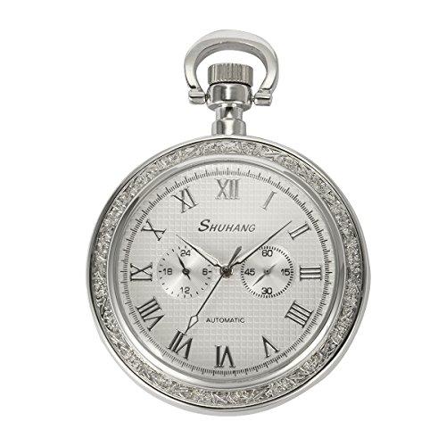 selezione premium e5217 78483 Orologio da tasca argento viso aperto - 2 Sub-Dail 24 ore lancetta piccola  dei secondi Machanical uomini orologio da tasca ManChDa Numeri romani + ...