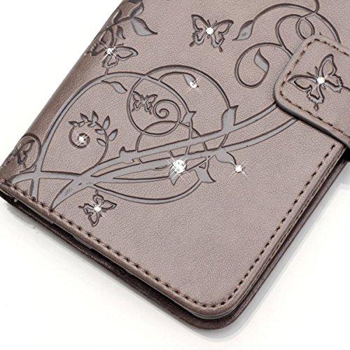 Wkae Case Cover Schmetterling und Blume Prägung Premium PU-Leder Tasche Cover Magnetischen Flip Wallet Stand Case Folio Stand Case mit Bling Diamond Resine Rhinestone Dekor für HUWEI Y625 ( Color : Pi Gray