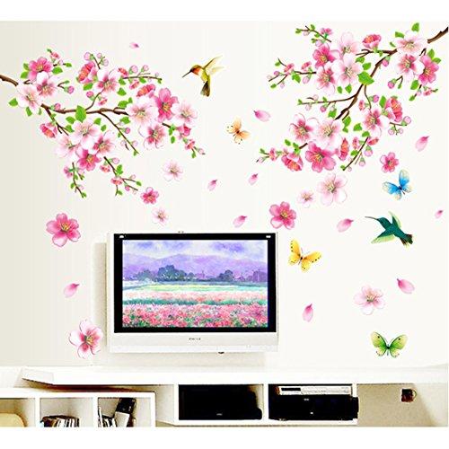 Schöne Plum Blossom Blumen Brance Vögel Schmetterlinge Wandtattoo House Aufkleber abnehmbarer Wohnzimmer Tapete Schlafzimmer Küche Art Bild Wandmalereien Sticks PVC Fenster Tür Dekoration + 3D Frosch Auto Aufkleber Geschenk -