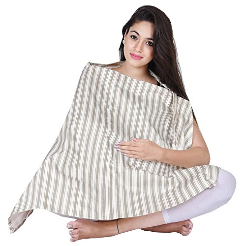 Nursing Cover for Breastfeeding Privacy EXTRA WIDE for Full Coverage -Beige color-Breathable 100% Cotton