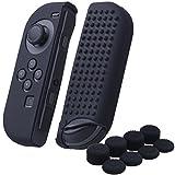 YoRHa Borchie Cassa pelle copertura silicone skin cover Custodia per Nintendo Switch/NS/NX Joy-Con controller x 2 (nero) Con Joy-Con presa del pollice thumb grips x 8