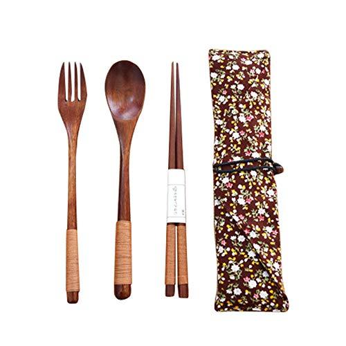 WHF Gabel Löffel Messer Dim Sum Kuchen Steakbesteck High-End Küche Bevorzugte Nanmu Besteck Set Elegante Einfache Vintage Holz Einwickelmesser Und Gabel Küche Set * 6 (18 Pack),B (Kuchen-messer-set Vintage)
