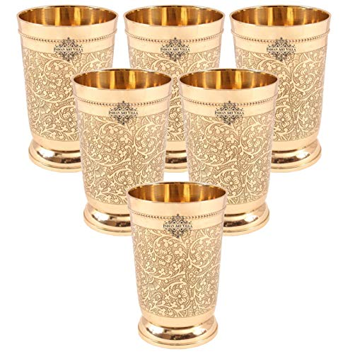 Indian Art Villa Brass Glass Tumbler, Embossed Design, 330 ML Each, Set of 6 Glassware & Drinkware at amazon