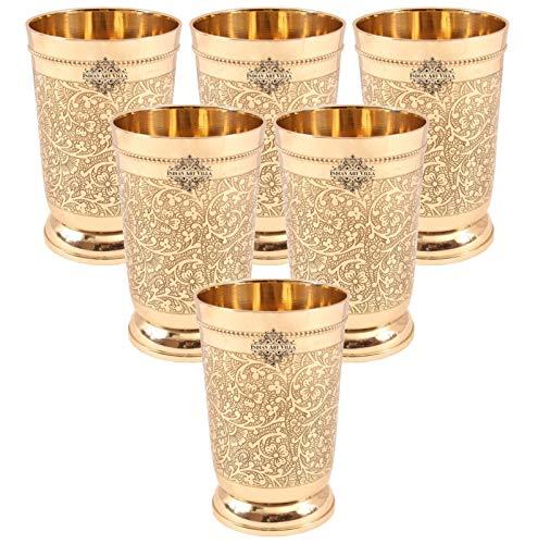 Indian Art Villa Brass Glass Tumbler, Embossed Design, 330 ML Each, Set of 6 Glassware & Drinkware at amazon