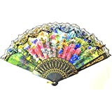 AUM- Lace Trim Colorful, Flower Floral Pattern, Hand Held Folding Bamboo Japanese Silk Hand Fan (Black-LF2).100% Hand Crafted, Gift Fan For Girls, Women, Wedding Party. Buy 100% Original Imported Hand Fan From Aum Impex Only