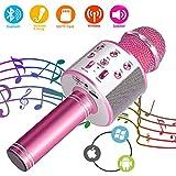 SunTop Microfono Karaoke Bluetooth, Bluetooth Altoparlante, Microfono Wireless, Bluetooth Karaoke Player, AUX wireless Karaoke per PC, laptop, iPhone, iPad, smartphone Android (Rosa rosso)