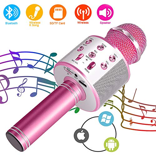 SunTop Bluetooth Karaoke Mikrofon, Handy Karaoke Microphone, Mikrofon Stereo Player für KTV Player für PC iPhone iPad Android Smartphone (Aufladung Für Ipad 3)