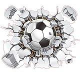 WandSticker4U- Wandtattoo in 3D Optik: Fussball | Wandsticker WM EM Sport Mauerwerk Poster Wand Aufkleber Deko für Kinderzimmer Junge, Wohnzimmer, Küche, Flur