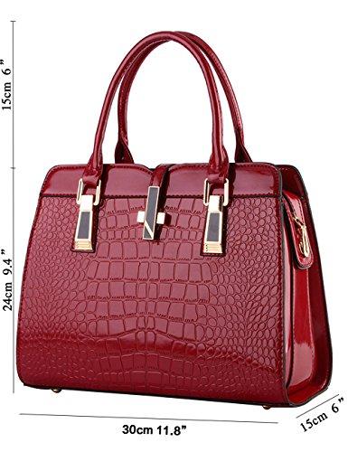 Menschwear Leather Tote Bag lucida PU nuove signore borsa a tracolla Viola Vino Rosso