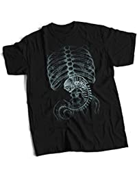 bybulldog Xenomorph X-Ray Alien Design Premium Heavyweight T-Shirt Choice Of Sizes Small To 3X Large