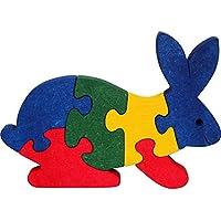 Puzzles enfant SPYRA. Puzzles lapin enfant bois 3D, 100% hêtre massif, couleurs naturelles. Fabriqué en Europe