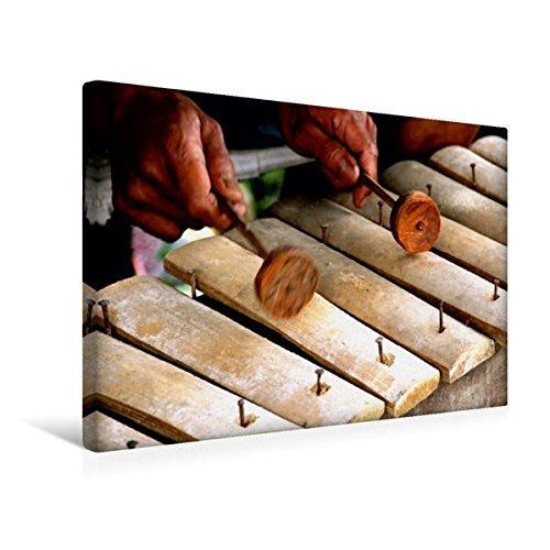 Calvendo Premium Textil-Leinwand 45 cm x 30 cm Quer, Gamelan Spieler, Bali | Wandbild, Bild auf Keilrahmen, Fertigbild auf Echter Leinwand, Leinwanddruck Orte Orte