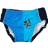 natubini Jungen Windelbadehose Neptun-Trioblau, orig. aquabini Kinder Swim Wear Baby Schwimmwindel u. Kleinkinder Badehose in einem, mit integriertem Hygienevliesstoff Größe 74/80 (7-12 Monate)