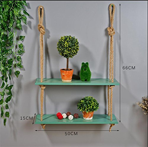Étagère dans le salon chambre cuisine Creative Simple en bois bricolage Rack de stockage/cloison murale cloison suspendue Cling/étagère en bois avec corde Design Rack Décoration