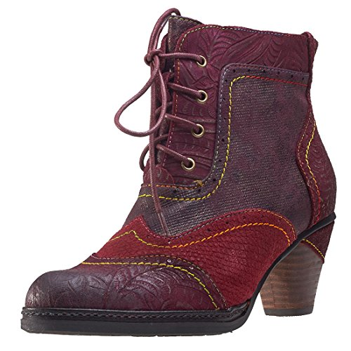 Laura Vita SL1293-30A Alizee 30 Schuhe Damen Stiefeletten Ankle Boots, Schuhgröße:39;Farbe:Rot (Ankle Boots Grüne)