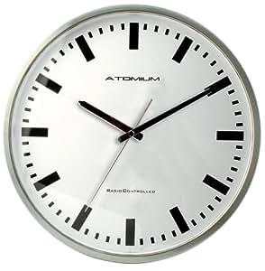 Atomium Radio-pilotée-Métal-Horloge murale avec chiffres bâtons écran