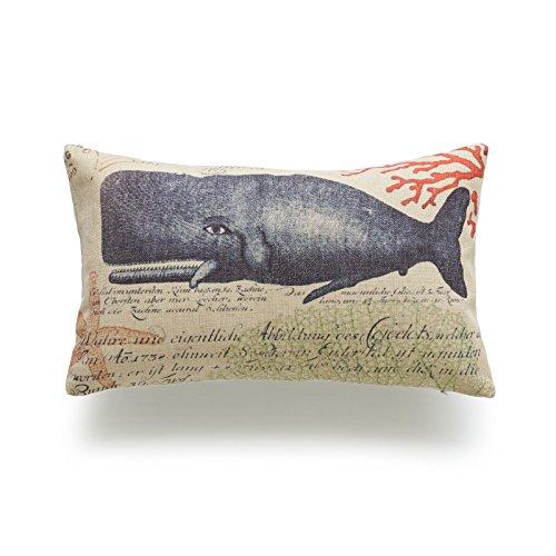 Hofdeco funda de cojín pesada de lino y algodón Vintage Caribe mar vida náutica ballena cangrejo...