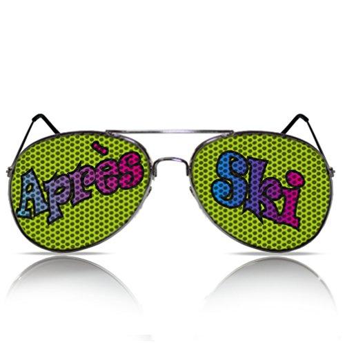 Après Ski beklebte Sonnenbrille Partybrille Partygag bedruckte Pilotenbrille Scherzbrille...