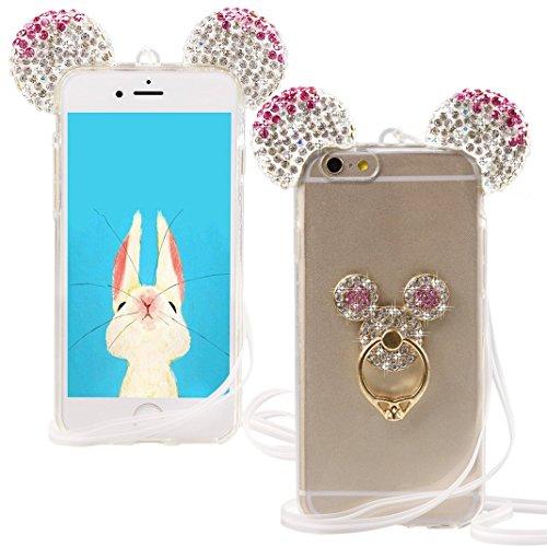 Sling Bling (iPhone 6 6S Hülle, ZXK TPU Silicone Case Schutzhülle Diamant Etui Crystal Bär Maus Ohren hülle für iPhone 6 6S 4,7