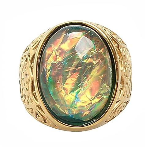 PAURO Unisex Edelstahl Gold Vergoldet Gelber Opalring Mit Weinlese Gravierten Mustern Gr. 65