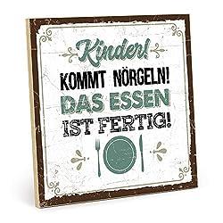 TypeStoff Holzschild mit Spruch - Kinder KOMMT NÖRGELN - Essen IST FERTIG - im Vintage-Look mit Zitat als Geschenk und Dekoration (Größe: 19,5 x 19,5 cm)