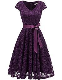 Berylove Frauen Floral Spitzenkleid V Ausschnitt Kurz Brautjungferkleid  Cocktail Partykleider 60bff55b40
