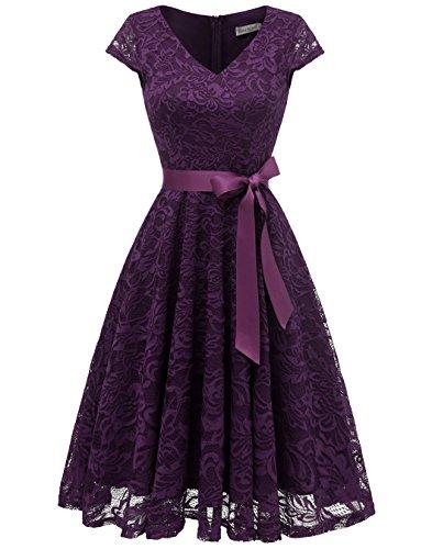 Berylove Damen V-Ausschnitt Kurz Brautjungfer Kleid Cocktail Party Floral Kleid BLP7006Grape2XL