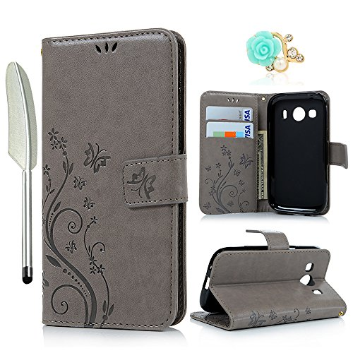 YOKIRIN Samsung Galaxy G357 Wallet Case Samsung Galaxy Ace 4 G357 SM-G357FZ (4.3 Zoll) Hülle Stand PU Leder Tasche Wallet Flipcase Schut Bookstyle Silikon Brieftasche Handyhülle Schmetterling Gray