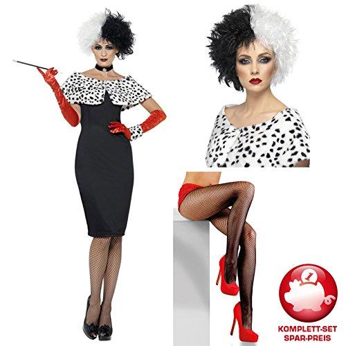 Dalmatiner Gruppe Kostüme (Kostüm-Komplett-Set Madam Cruella Gr.M mit)
