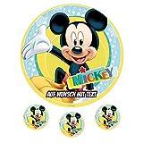 Tortenaufleger Geburtstag Tortenbild Zuckerbild Oblate Motiv: Disney Mickey Mouse 02 (Zuckerpapier)