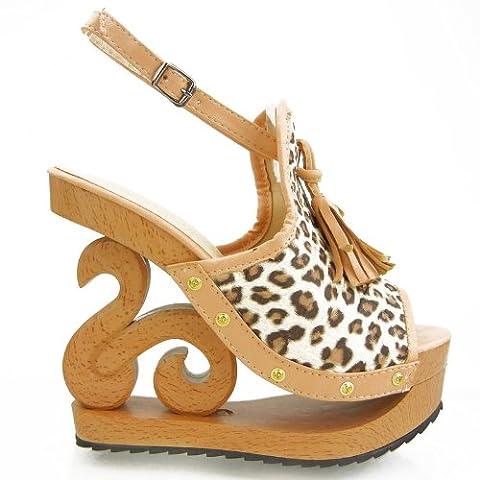 Show Story LF03118 Sandales avec plateforme, talon compensé en bois et gland Imprimé léopard - 2.5 UK - beige