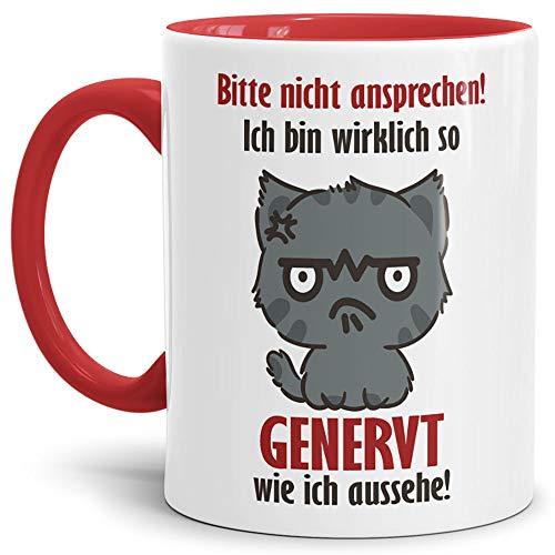 Tassendruck Katzen-Tasse mit Spruch Bitte Nicht ansprechen Geschenk-Artikel/Genervt /...