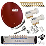 FUBA 16 TEILNEHMER DIGITAL SAT ANLAGE DAA850R + 0,1dB LNB FULL HDTV 4K + PMSE Multischalter 9/16 + 50 Vergoldete F-Stecker Gratis dazu
